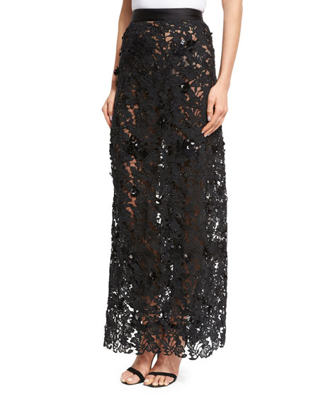 Johanna Ortiz Cana Lace High-Waist Maxi Skirt, Black