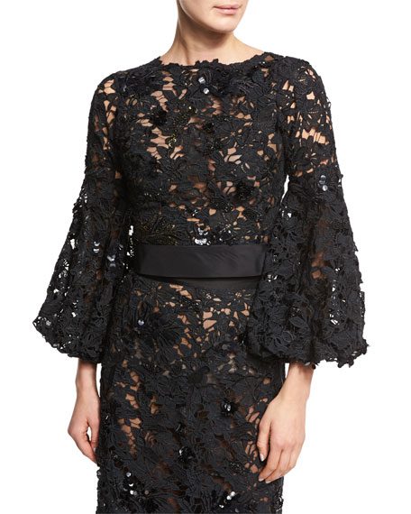 Black Lace Blouse | Neiman Marcus