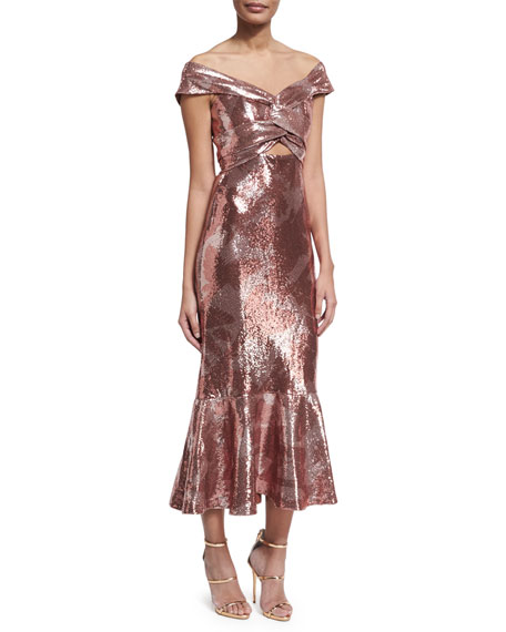 Maicao Sequined Twisted Flounce Dress, Rose