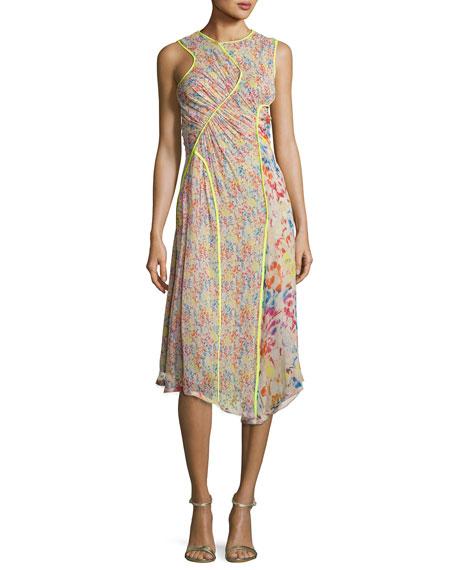 Floral-Print Crinkled Chiffon Sleeveless Midi Dress, Beige
