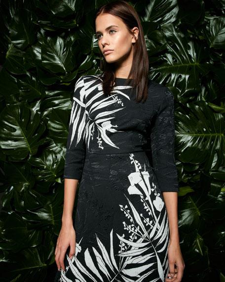 Leaf Matelassé 3/4-Sleeve A-Line Dress, Black/Multi