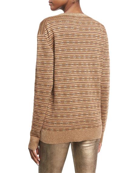 Metallic Deco Knit V-Neck Sweater, Brown