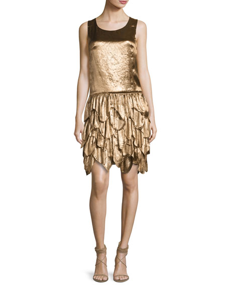 Ralph Lauren Collection Dara Tiered Sleeveless Dress, Bronze