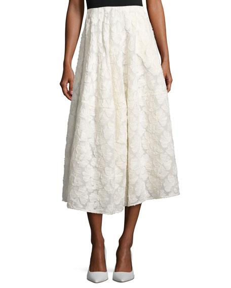 Floral Fil Coupé A-Line Tea-Length Skirt, Ivory