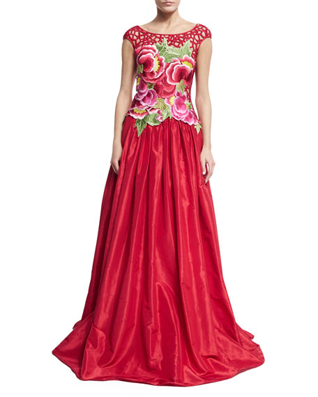 Naeem Khan Floral Threadwork Embroidered Gown, Red