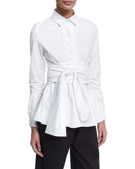 Tiered Poplin Shirt with Obi Belt