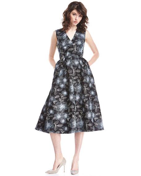 Embroidered Floral Sleeveless V-Neck Midi Dress, Navy