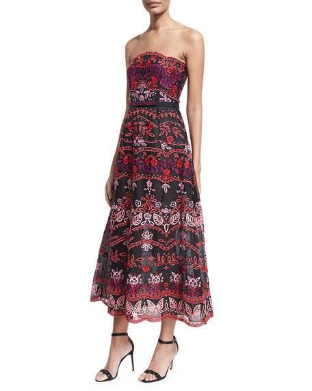 Floral Embroidered Eyelet Strapless Gown, Black/Red/Pink