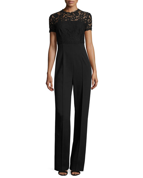 Escada Lace-Bodice Short-Sleeve Jumpsuit, Black