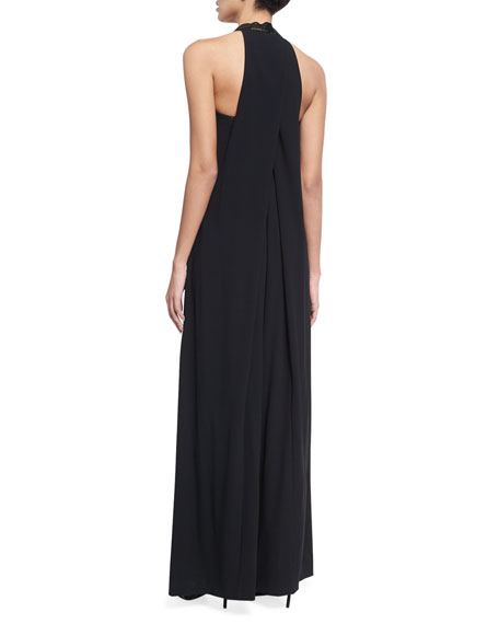 Crystal Halter Wide-Leg Jumpsuit, Black