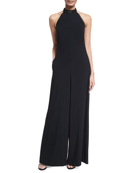 Escada Crystal Halter Wide-Leg Jumpsuit, Black