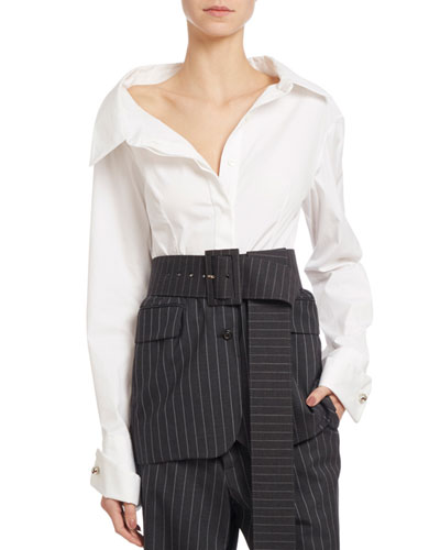Long-Sleeve Poplin & Striped Gabardine Blouse, White/Gray