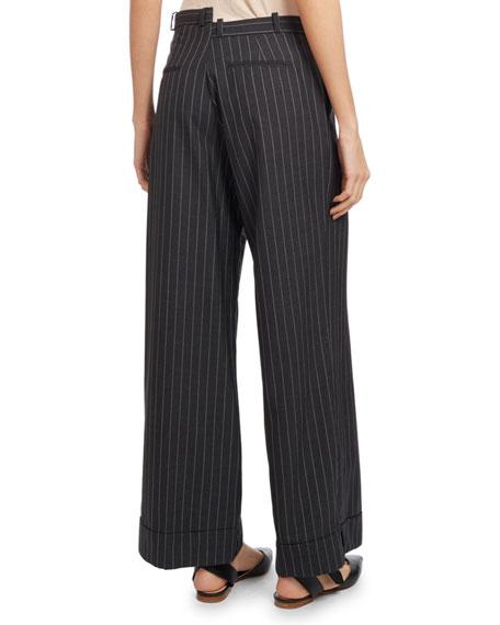 Cropped Wide-Leg Pinstripe Pants, Dark Gray
