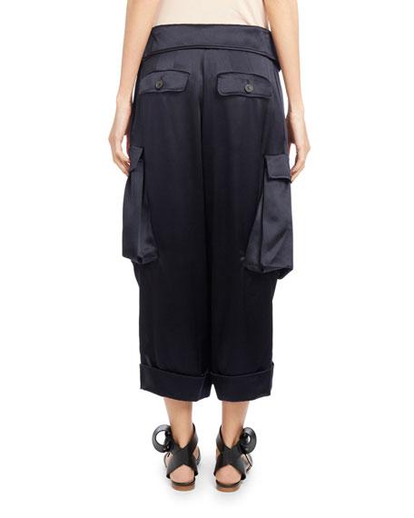 Pleated Satin Cargo Pants, Navy