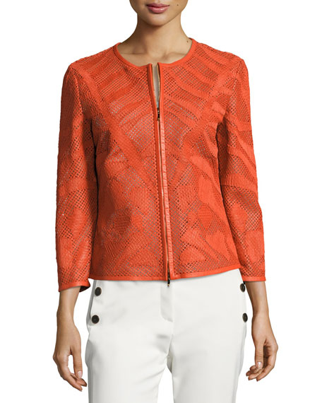 Escada Leaf-Cut Leather 3/4-Sleeve Jacket, Orange