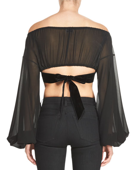 Sheer Silk Peasant Crop Top with Velvet Trim