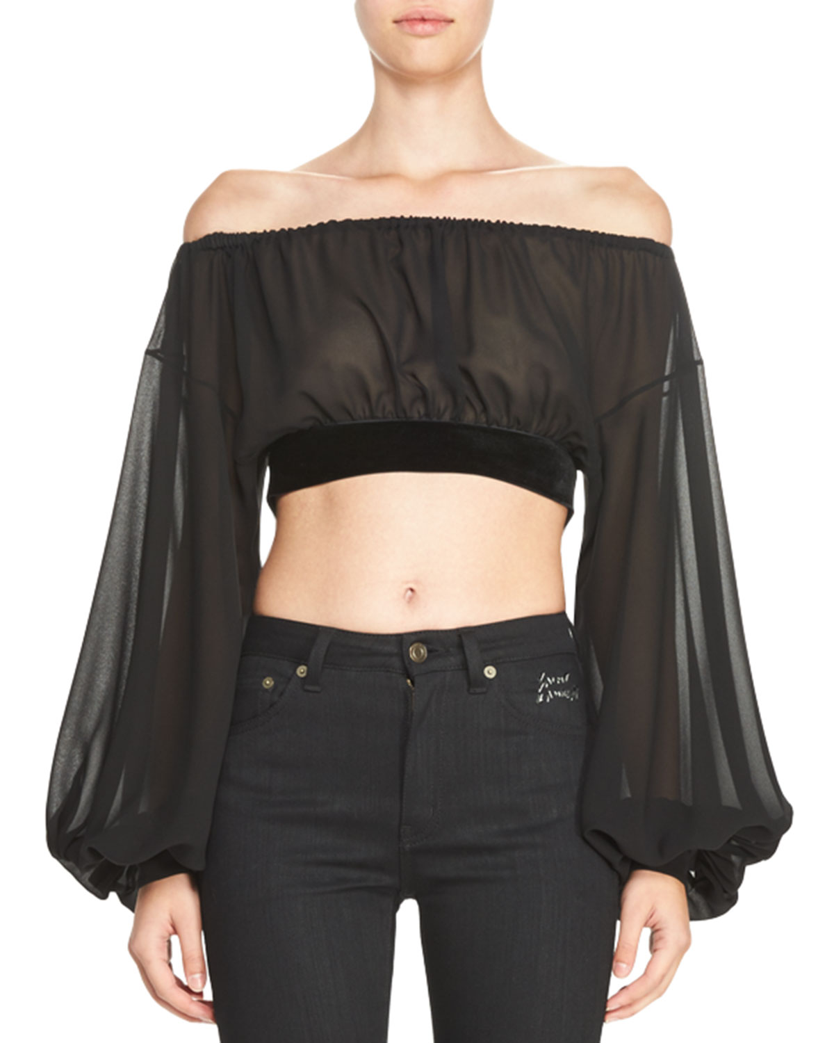 23d946b80fcef5 Saint Laurent Sheer Silk Peasant Crop Top with Velvet Trim