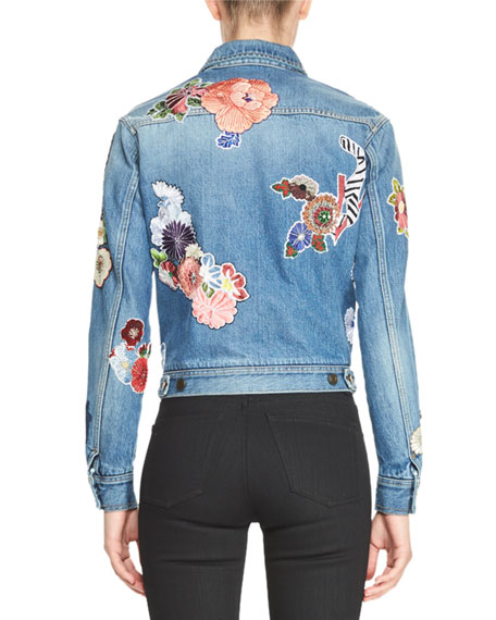 Signature Embroidered Jean Jacket, Blue