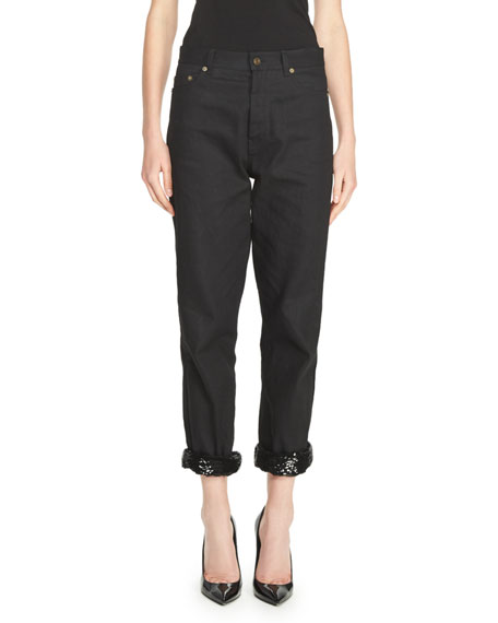 Saint Laurent Low-Waist Boyfriend Jeans with Sequined Cuff,