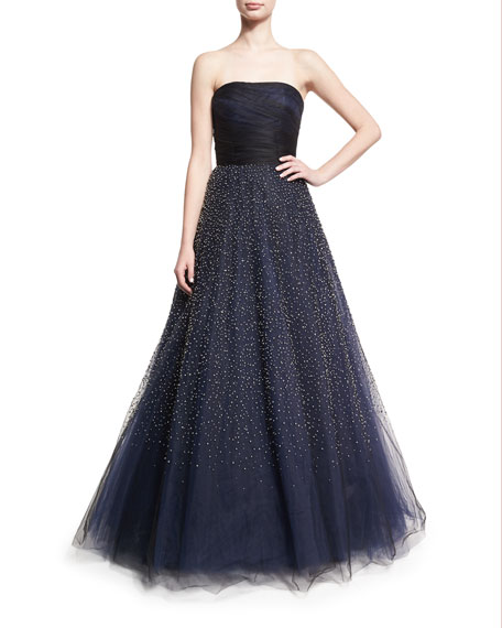 Rubin Singer Strapless Beaded Tulle Ball Gown, Black/Blue