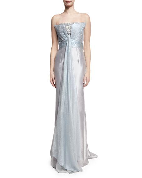 Rubin Singer Strapless Beaded Drape-Front Gown, Light Blue