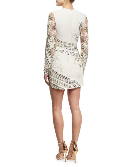 Sequined Star-Embroidered Minidress, White