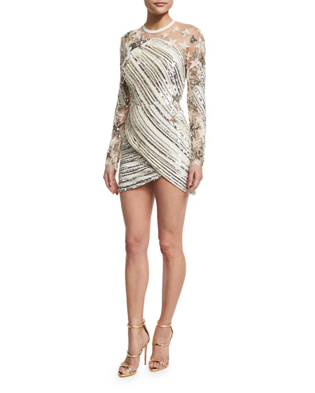 Elie Saab Sequined Star-Embroidered Minidress, White