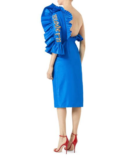 One-Shoulder Silk Shantung Dress