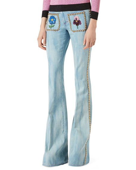 Gucci Embroidered Denim Flare-Leg Pants with Studs