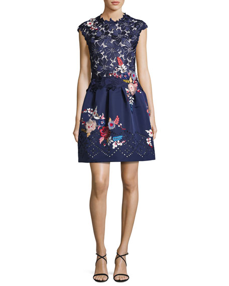 Monique Lhuillier Embroidered Floral Lace Fit & Flare