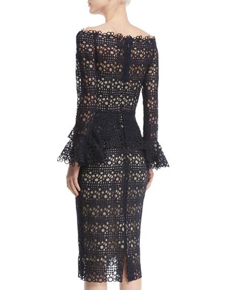 Off-the-Shoulder Bell-Sleeve Guipure Lace Peplum Dress, Navy