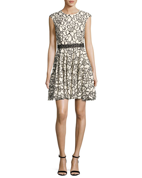 Monique Lhuillier Floral Lace Cap-Sleeve Dress, White/Black