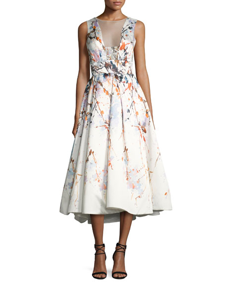 Monique Lhuillier Watercolor Mikado Sleeveless Tea-Length Gown,