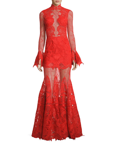 Jonathan Simkhai Collection Long-Sleeve Geometric Lace Mermaid