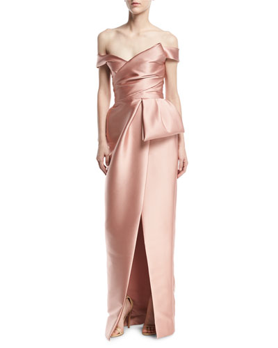 Off-the-Shoulder Mikado Tulip Gown, Blush
