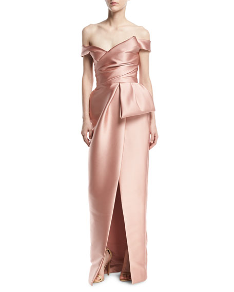 Monique Lhuillier Off-the-Shoulder Mikado Tulip Gown, Blush