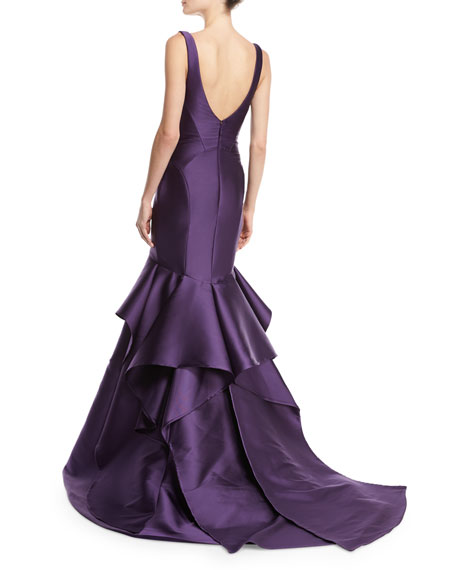 Sleeveless V-Neck Mikado Trumpet Gown