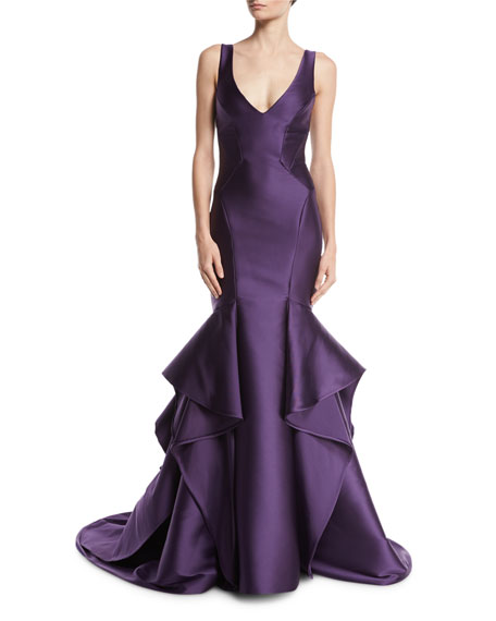 Monique Lhuillier Sleeveless V-Neck Mikado Trumpet Gown