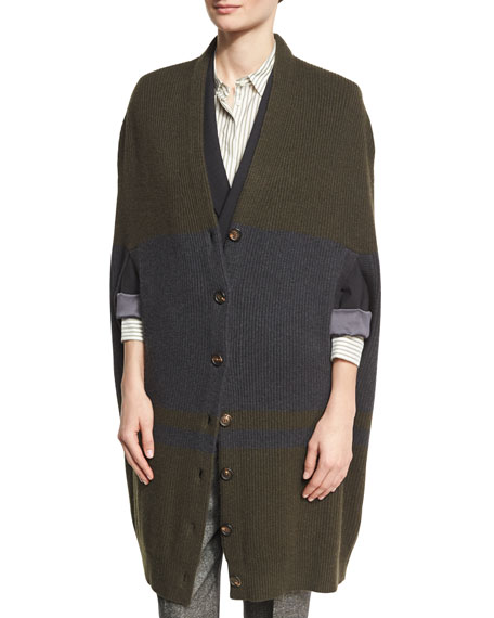 Brunello Cucinelli Bicolor Cashmere English Rib Cocoon Cardigan,