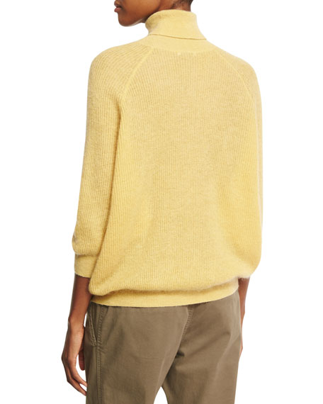 Mohair-Wool 3/4-Sleeve Turtleneck Sweater, Yellow