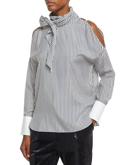 Brunello Cucinelli Striped Silk Cold-Shoulder Tie-Neck Blouse,