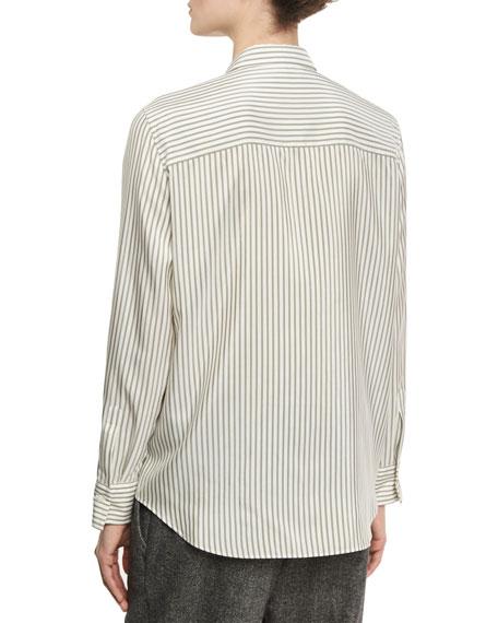 Striped Silk Shirt with Monili Military Beading, White/Green