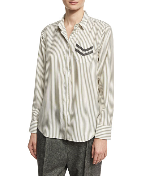 Brunello Cucinelli Striped Silk Shirt with Monili Military