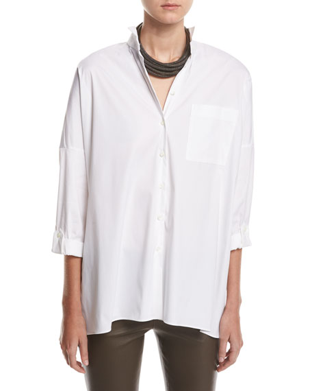 Brunello Cucinelli Poplin Blouse w/Monili Fringe, White and