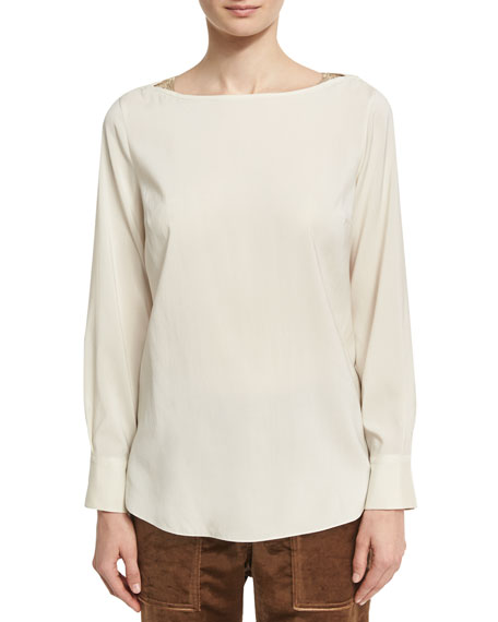 Long-Sleeve Stretch-Silk Boat-Neck Top with Monili Insets, Cream