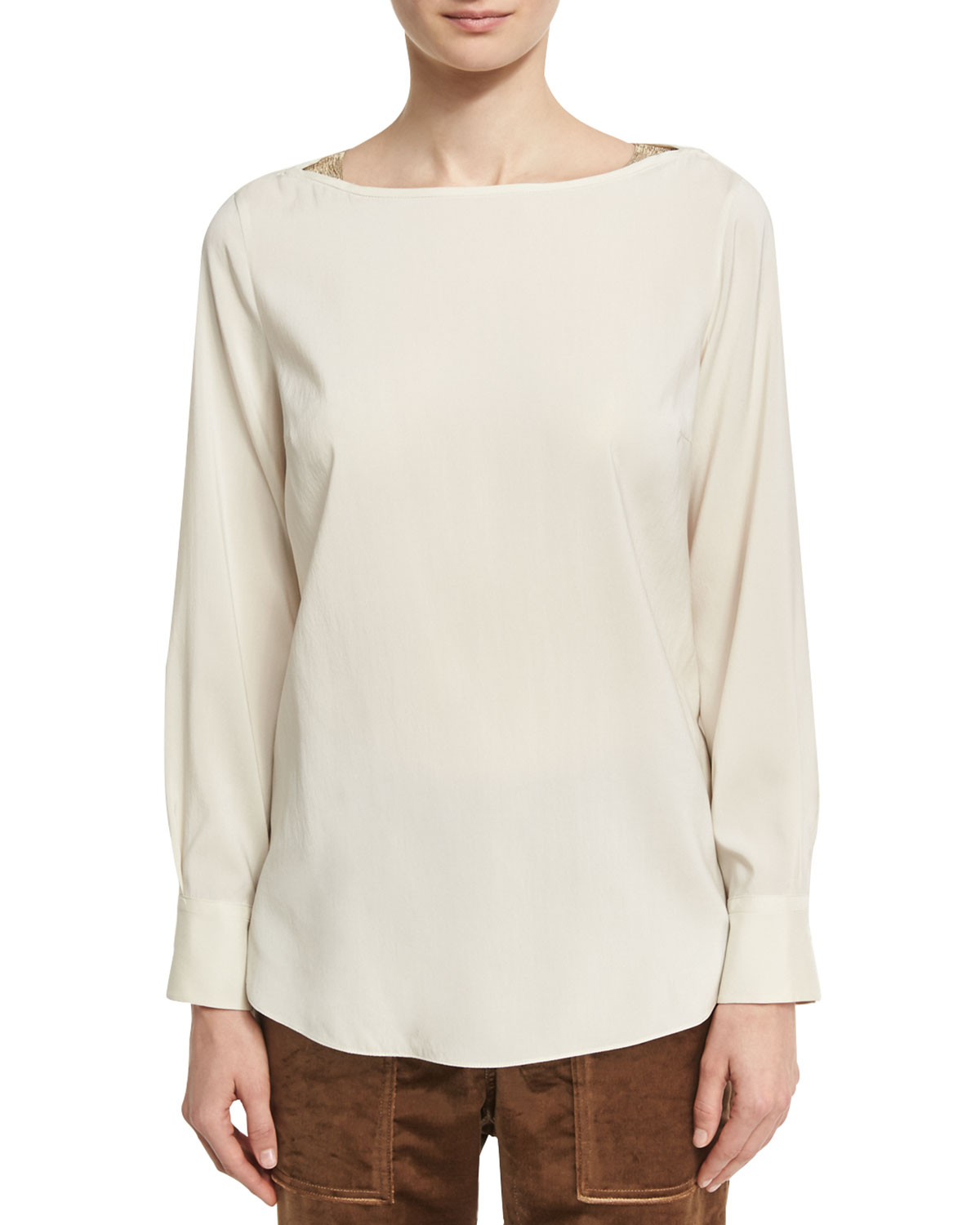 c5f8236150556 Brunello CucinelliLong-Sleeve Stretch-Silk Boat-Neck Top with Monili  Insets