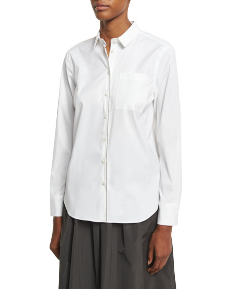 Monili-Trim Poplin Shirt, White