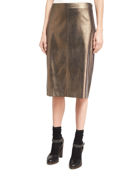Metallic Leather Pencil Skirt, Light Brown