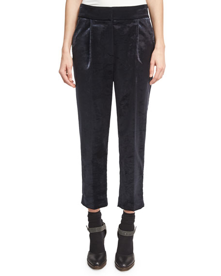 Velvet Single-Pleat Cropped Trousers, Gray