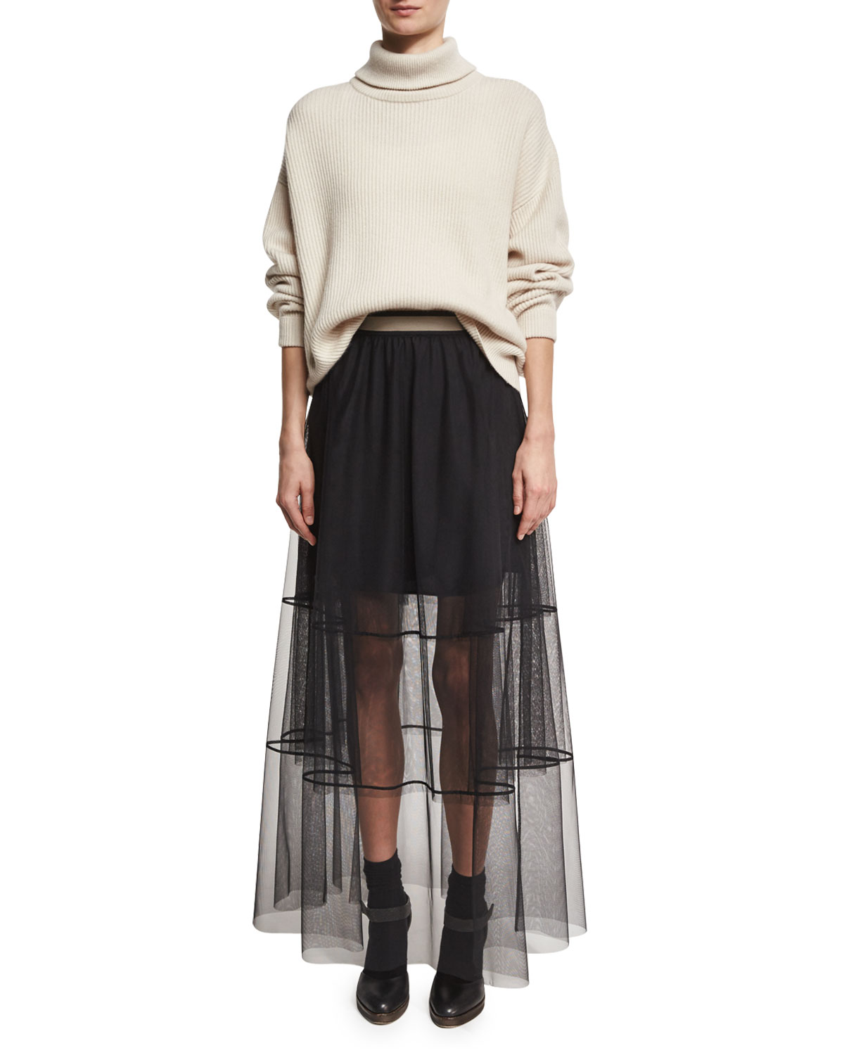 Brunello Cucinelli Sheer Tiered Tulle Maxi Skirt with Contrast Waist, Black  | Neiman Marcus